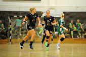 SIOFOK, HUNGARY - SEPTEMBER 14: Siofok players celebrate at a Hungarian National Championship handba