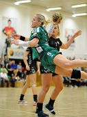 SIOFOK, HUNGARY - SEPTEMBER 14: Heidi Loke (in green) in action at a Hungarian National Championship