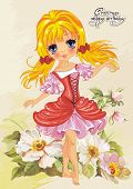 Illustration of cute little princess on floral summer background. Greeting postcard with Adorable elf girl.
