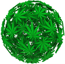 pic of mary jane  - Medicinal marijuana leaves in a sphere background pattern to illustrate medical uses of cannabis - JPG