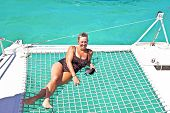 pic of bic  - Happy mature lady on a sailing ship - JPG