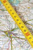pic of turin  - photo of road map of turin with measuring stick - JPG