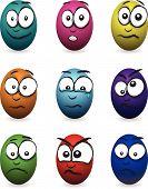 cartoon coloured egg faces