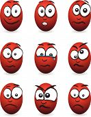 cartoon red egg faces