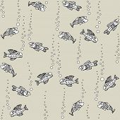 Graphic seamless pattern with fish pastel