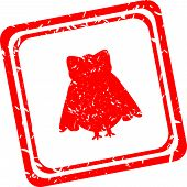 Red Stamp With Owl Family Sign Isolated On White