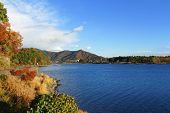 Lake kawaguchi with blue sky