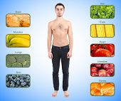 Collage of the most useful foods for human