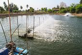 stock photo of aeration  - Aerator  in the shrimp farm for fresh water in Thailand - JPG