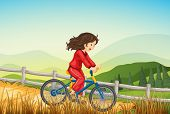 Illustration of a girl biking at the farm