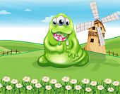 Illustration of a fat monster at the hilltop with a spiral lollipop candy