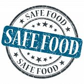 Safe Food Blue Grunge Round Stamp On White Background