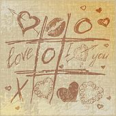 foto of tic-tac-toe  - vector Hand drawn Tic Tac Toe Hearts - JPG