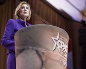 NATIONAL HARBOR, MD - MARCH 8, 2014: Carly Fiorina speaks at the Conservative Political Action Confe