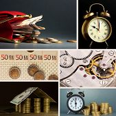 Business collage. Concept of time and money