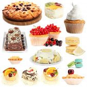 Sweet desserts isolated on white