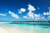Beautiful island beach with at Maldives
