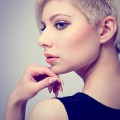 Glamorous Fashion Girl in Profile