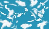 Abstract background image of feathers flying in air