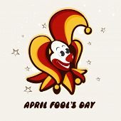Happy Fool's Day funky concept with funny illustration of a joker on stars decorated grey background