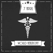 Abstract world heath day concept with madical symbol on grey background.