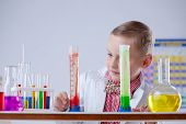 stock photo of chemical reaction  - Attentive little scientist watching chemical reaction - JPG