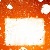 Grunge Orange Banner With White Inky Splashes