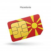 Macedonia mobile phone sim card with flag.