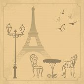 Paris landscape on vintage background