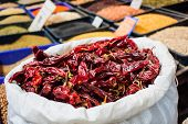 Dried Peppers In The Market