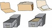 pic of manila paper  - Folders documents and filing cabinets over white background - JPG