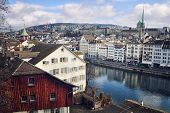 foto of zurich  - Old buildings in the city center of Zurich Switzerland - JPG