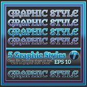 Set Of Dark Blue Glossy Graphic Styles For Design.