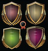 Golden shields with laurels collection