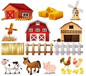 image of farmhouse  - Illustration of the things and animals found at the farm on a white background - JPG