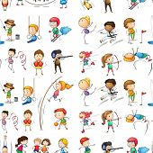 Illustration of the seamless design of people doing their indoor and outdoor activities on a white background