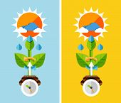 Flat design nature concept - plant growth. Can be used for web banners, printed materials