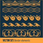 Vector set of border elements and page decoration