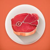 Steak meat, long shadow vector icon