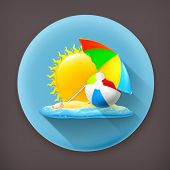 Summer long shadow vector icon