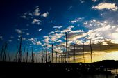 Silhouette Masts of Sail Yacht