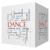 pic of jive  - Dance 3D cube Word Cloud Concept with great terms such as music classes ballroom and more - JPG
