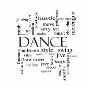 pic of jive  - Dance Word Cloud Concept in black and white with great terms such as music classes ballroom and more - JPG