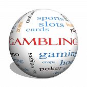 Gambling 3D Sphere Word Cloud Concept