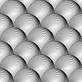 stock photo of uncolored  - Design seamless uncolored volumetric sphere geometric lines pattern - JPG