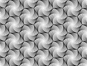 Design Seamless Monochrome Hexagon Geometric Pattern. Abstract Whirl Lines Textured Background