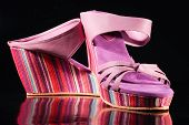 Fancy Shoes In Rainbow Colors On Isolated Black Background