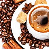 Coffee Cup And Beans Isolated On White Background Closeup. Cup Of Espressowith Cinnamon And Biscotti