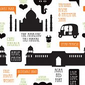 Seamless icons of India series Agra Taj Mahal illustration background pattern in vector
