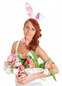 cute young woman with bunny ears